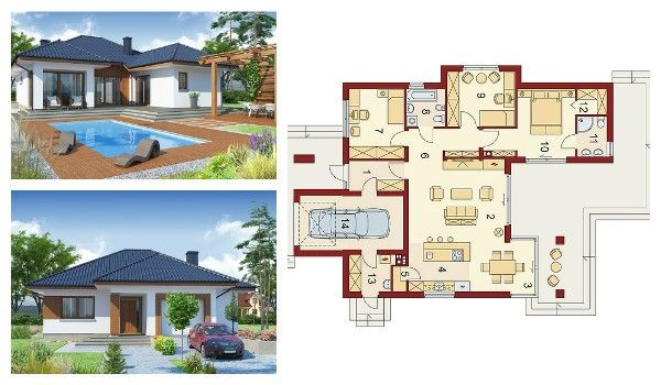 Actually We are presenting a detailed plan of one storey house of 114 square meters with a swimming pool and a beautiful garden. Its main asset is a functional interior designed for the needs of a family of four, and there is a spacious attic for storage too.
