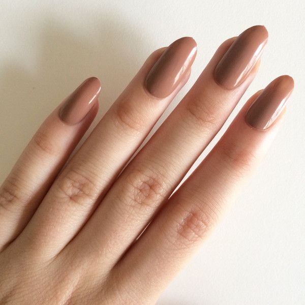 Gloss brown oval nails, hand painted acrylic nails, fake nails, false... ($15) ❤ liked on Polyvore featuring beauty products, nail care and nail treatments