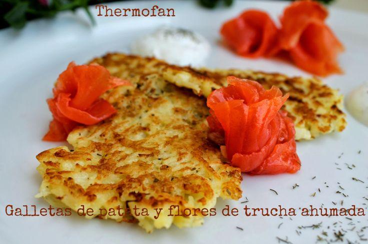 THERMOFAN: Galletas de patata y flores de trucha ahumada (T)