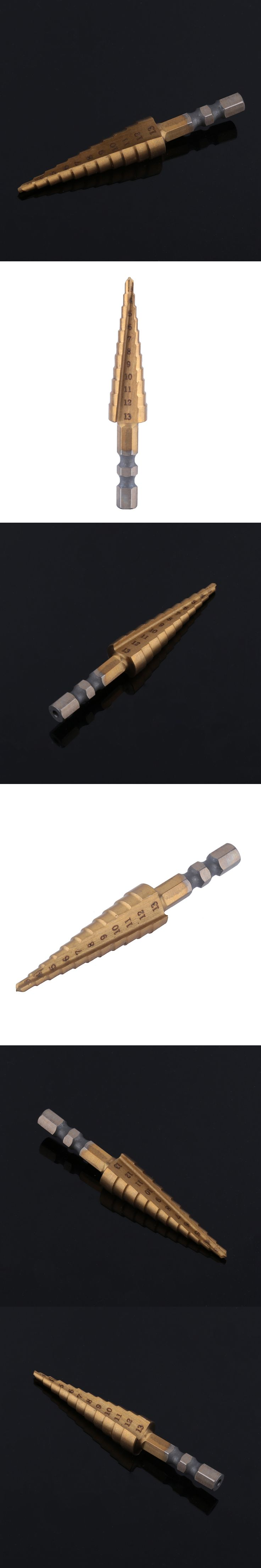 1pc HSS Titanium Coated Step Cone Drill Bit High Speed Steel Hex Step Drill Bits Hole Cutter Power Tools 3-13mm
