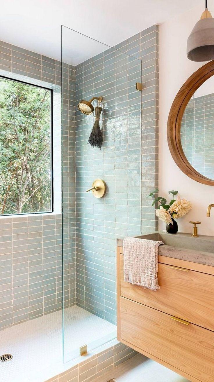 Bathroom Renos, Wood Bathroom, Master Bathroom, Remodel Bathroom, Natural Bathroom, Light Bathroom, Tiled Walls In Bathroom, Wall Tiles, Washroom Tiles