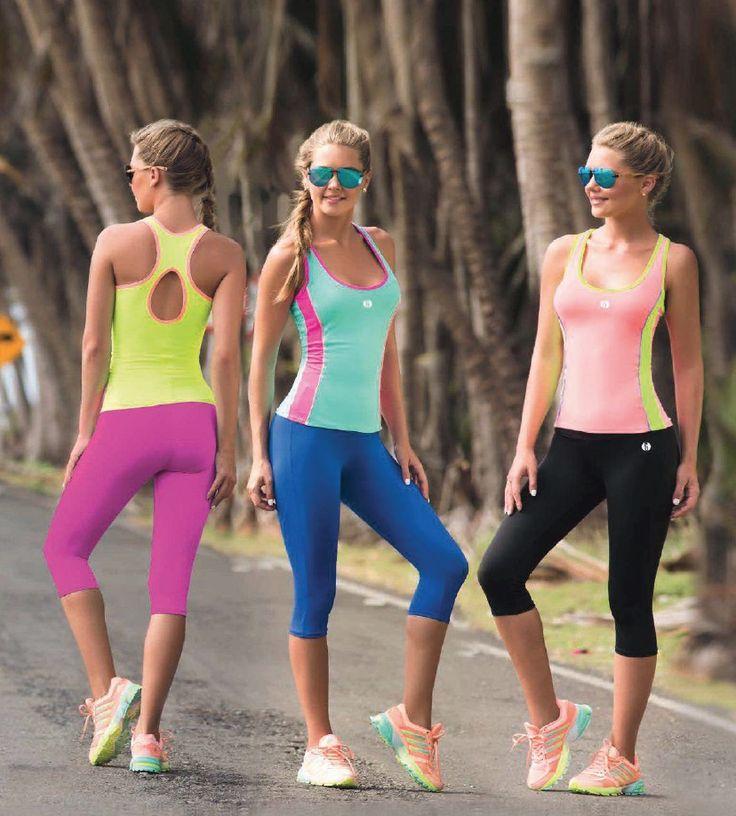 Garotas - Ref: 4787 Shirt and 4741 Capri. Size:S-M-L-XL. Material: Microfiber Nylon - Spandex. Colours: Black, Royal Blue, Mint, Salmon, Lilac, Neon Green.