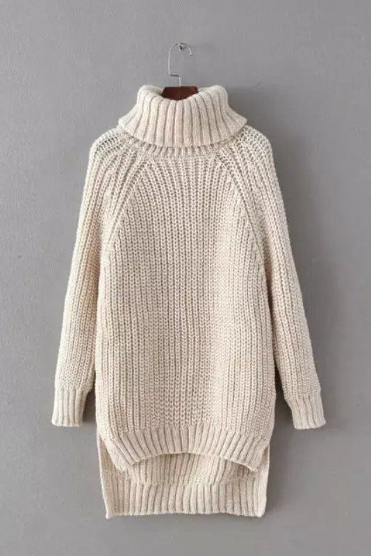Genuine People Cream High Low Chunky Knit Turtleneck Sweater $54