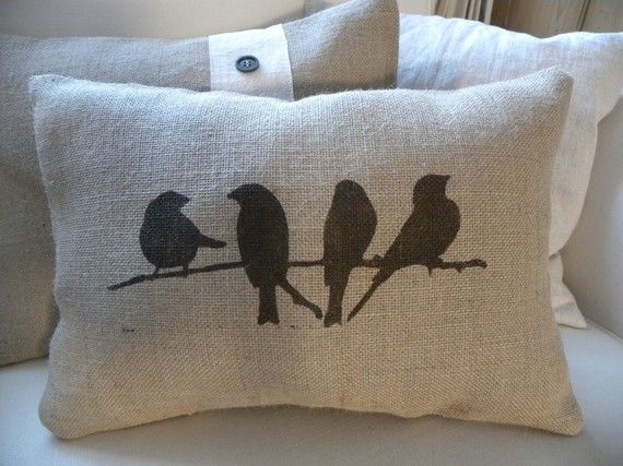 Cute burlap hessian birds on branch pillow by TheNestUK on Etsy