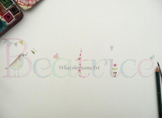 33 best my artwork images on pinterest watercolors watercolour original watercolour painting custom name art personalized childrens art baby girl name art nursery decor little girl baby gift negle Choice Image