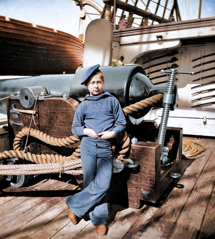 'Powder monkey' tijdens de Amerikaanse burgeroorlog. Charleston 1865.