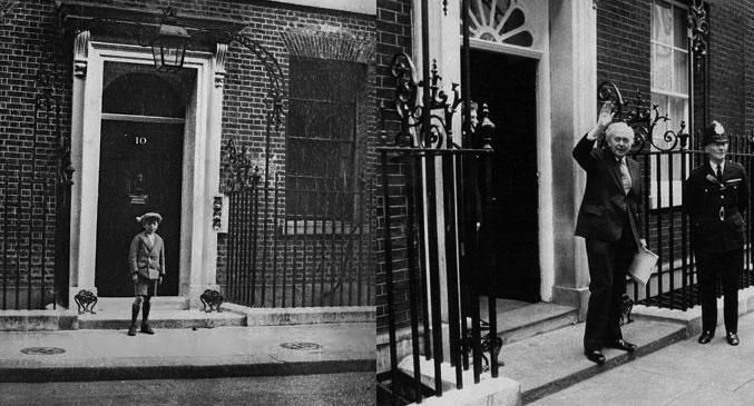 8-Year-Old Harold Wilson in front of 10 Downing Street 1924, and 52 years later after resigning as Prime Minister.