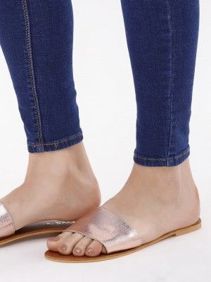 a193886c001 Buy Glossy Flat Slide Sandals For Women - Women s Rose Gold Flat Sandals  Online in India