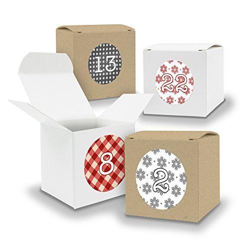 DIY itenga Adventskalender Set V06 zum Selberbefüllen 24x Würfel 6,5cm gemischt WEISS und BRAUN + ZahlenSticker (Motiv Z07 Rot Grau Weihnachtsmuster)