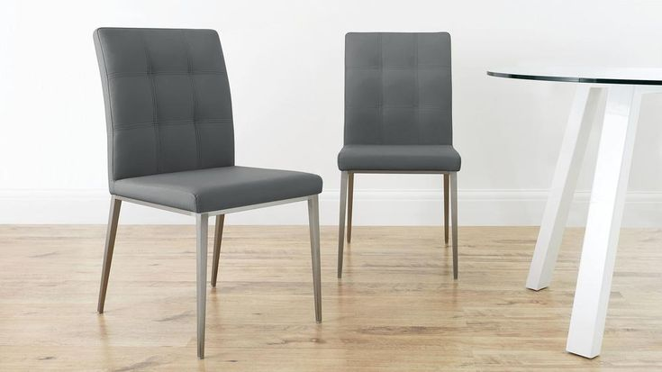 Grey Quilted Dining Chairs