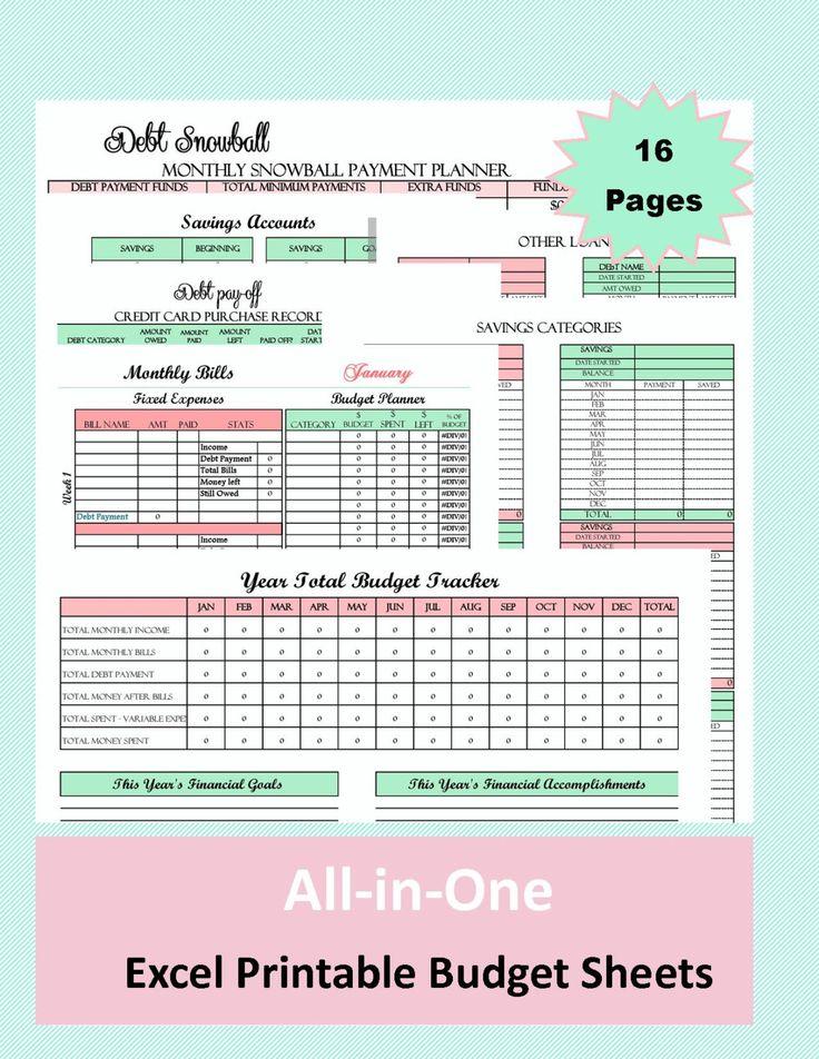 budget planner printables