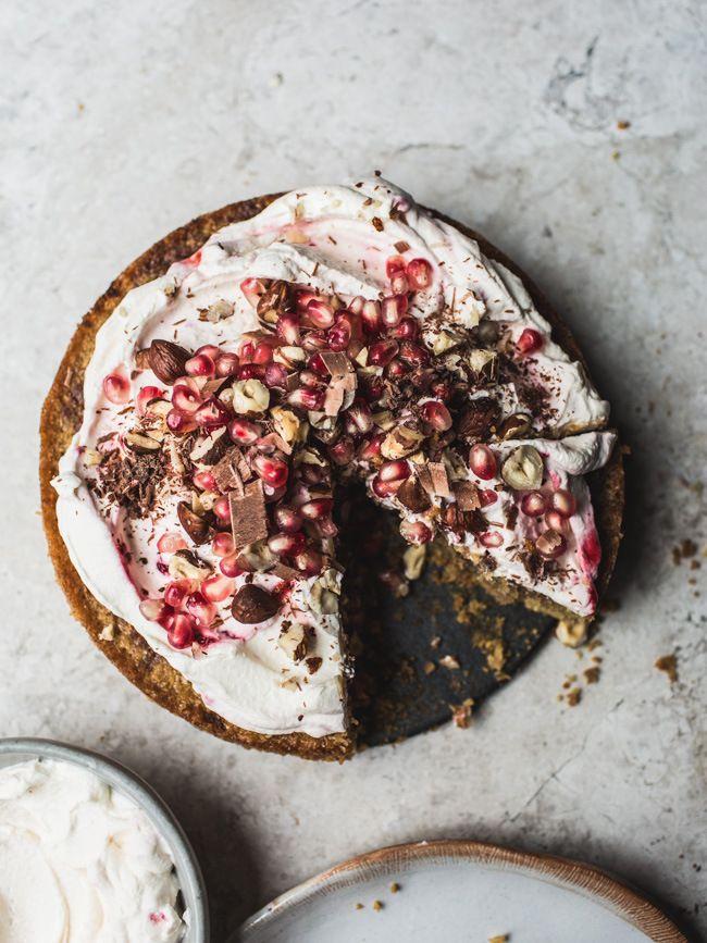 Chocolate Chip, Hazelnut & Pomegranate Cake