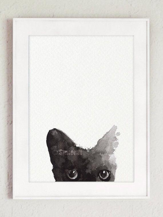 Schwarze Katze, die benutzerdefinierte Haustier Portrait schwarz Kitty Aquarell…