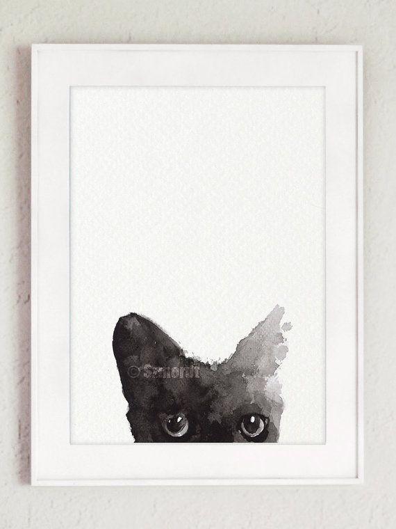 Black Cat Painting Custom Pet Portrait Black Kitty Watercolor Cat Art Print