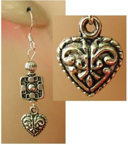 Silver Celtic Heart Beaded Dangle Earrings Handmade Jewelry Accessories