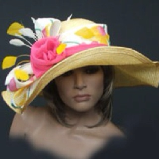 Yellow and Pink Kentucky Derby Hat