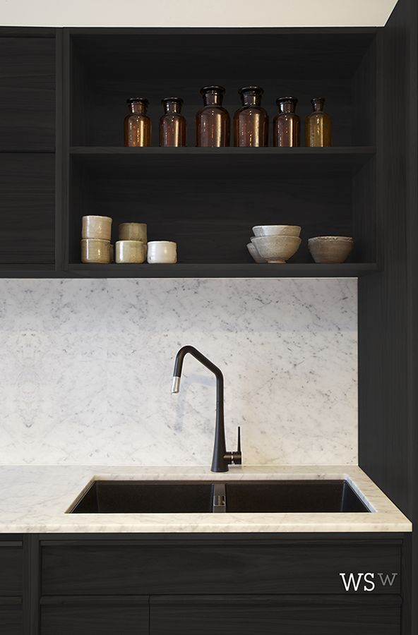 Marble With Black Cabinetry And Copper Accessories   Get The Look At TILE  Junket The Design Chaser: Black Kitchen Inspiration Part 80