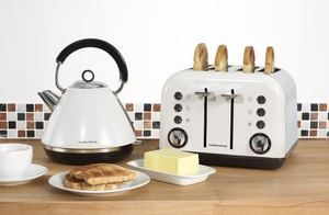 Morphy Richards White Kettle and 4 Slice Toaster - Accents Range