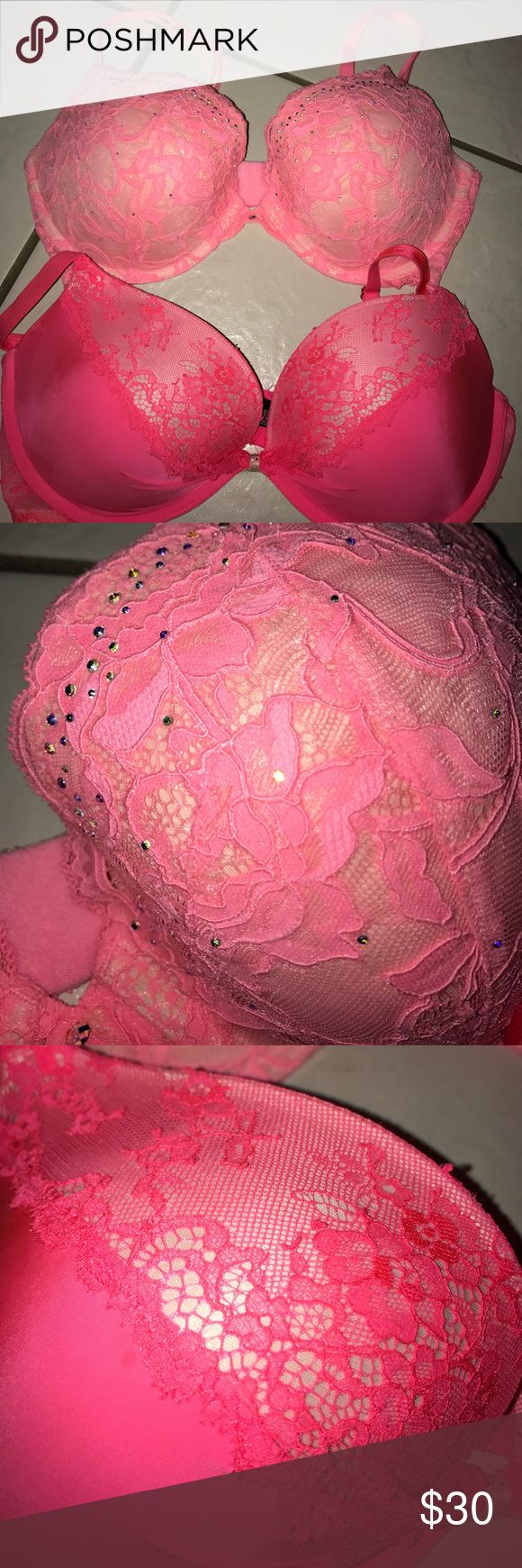 Victoria Secret Pink Lace Bras BUNDLE SET OR INDIVIDUAL... Individual price would be $12 each! Pink and lace Victoria Secret Bra. One has rhinestones with diamond in the middle. Neon pink and fuchsia. Worn less than 5 times// fairly worn. Victoria's Secret Intimates & Sleepwear Bras