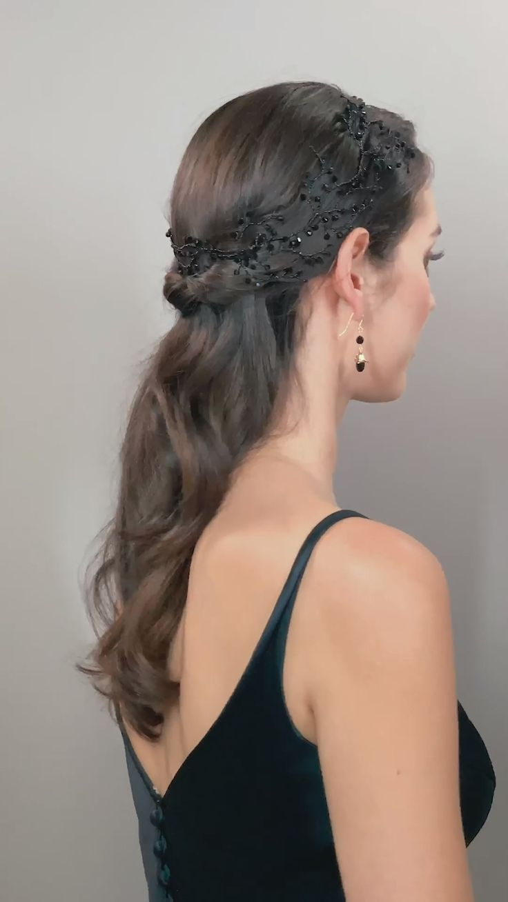 crystal black occasion fashion hairstyle garland headdress Black Dewdrop Garland By Hermione Harbutt made of gorgeous Black Swarovski crystal that circles the head for a stunning statement piece for any event.