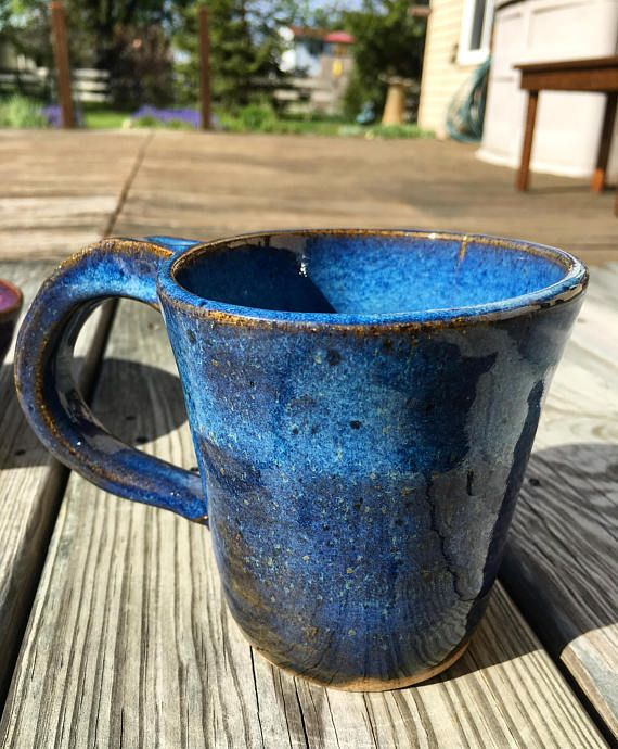 Blue Stoneware Mug. Handmade ceramics. Wheelthrown pottery.