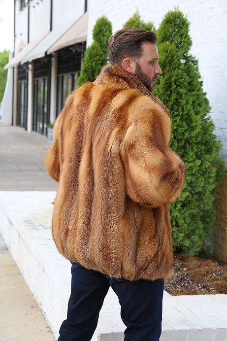 b9064eaed Men's Full Skin Natural Red Fox Fur Bomber Jacket | Fur coats | Fur ...