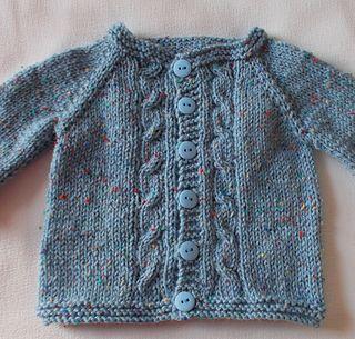 Baby Cardigan Jacket - sizes 0 to 12 mos. Yarn - DK/8 ply; Needle size 6
