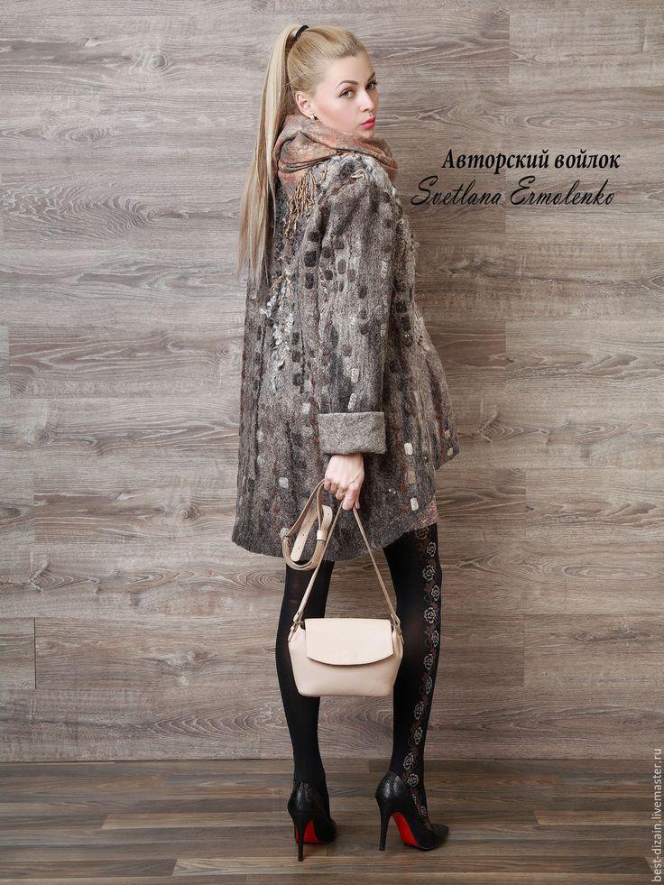 Купить Куртка валяная - серый, валяная куртка, куртка женская, куртка из шерсти, куртка валяная