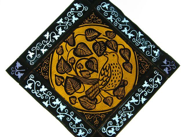 Singing bird painted glass suncatcher, by Red Hen Glass, via Folksy, £25.00