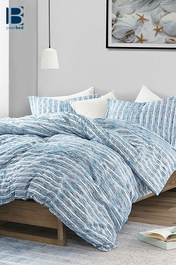 Ultra Soft Microfiber Bedding One Of A Kind Aura Blue Twin Xl Queen Xl And King Xl Comforter With Unique Striped Design Blue And White Bedding White Bed Set Blue And