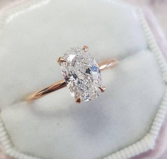 Oval Diamond Engagement Ring 1 Carat Oval Shape 18k Rose Etsy Oval Diamond Engagement Ring Oval Diamond Engagement Fine Engagement Rings