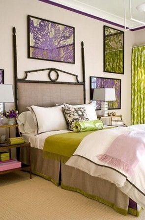 зелено-фиолетовые интерьере