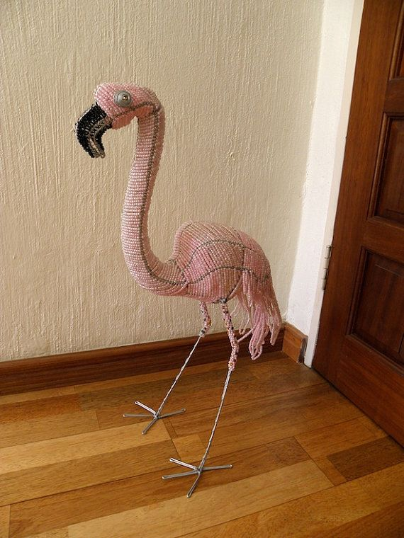 African Beaded Wire Animal Sculpture  FLAMINGO LARGE  by Hadeda, $99.00