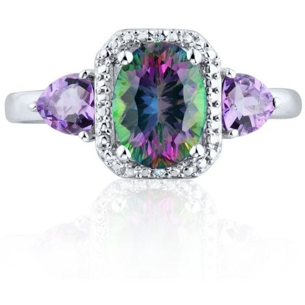 Belk  Co. Multi Mystic Fire Topaz  Amethyst Diamond Ring Set In... ($60) ❤ liked on Polyvore featuring jewelry, rings, multi, diamond jewelry, sterling silver diamond rings, topaz jewelry, sterling silver jewelry and diamond rings
