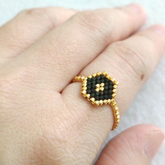 Hexagon Ring Stacking Ring Skinny Ring Beaded by JeannieRichard