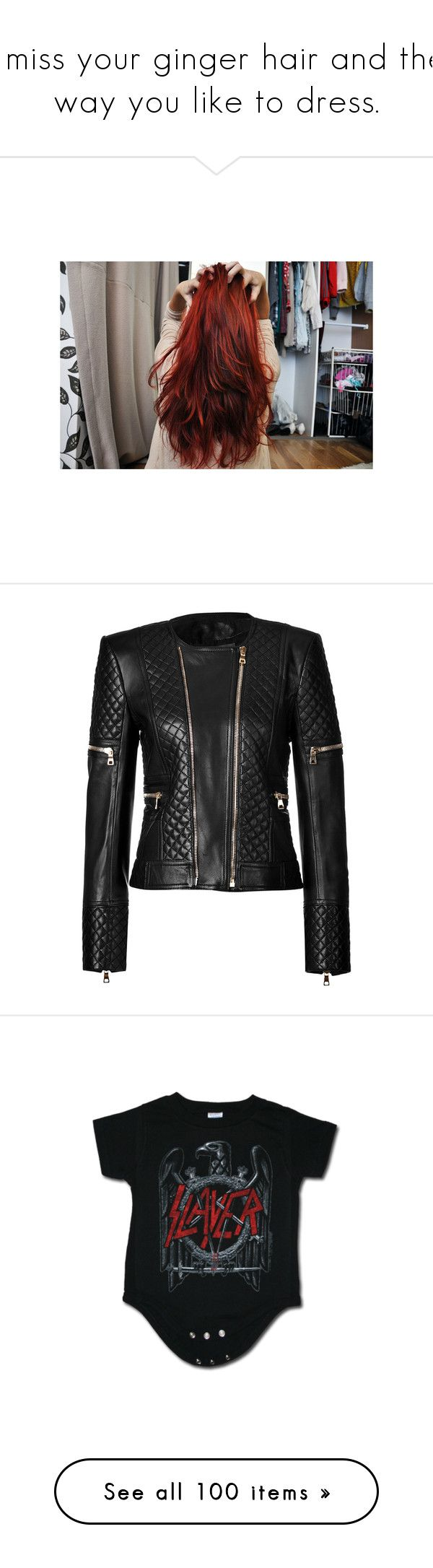 """""""I miss your ginger hair and the way you like to dress."""" by vicky-carter ❤ liked on Polyvore featuring hair, outerwear, jackets, balmain, leather jacket, zip front jacket, balmain jacket, 80s leather jacket, quilted jackets and 80s jackets"""