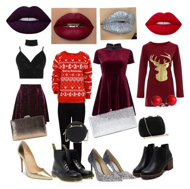 Christmas look for all types of celebrations 🎅🏻 by anna-lena09 on Polyvore featuring polyvore, fashion, style, Miss Selfridge, Disney, Boohoo, Topshop, EAST, Christian Louboutin, Dr. Martens, Jimmy Choo, Serpui, Betsey Johnson and clothing
