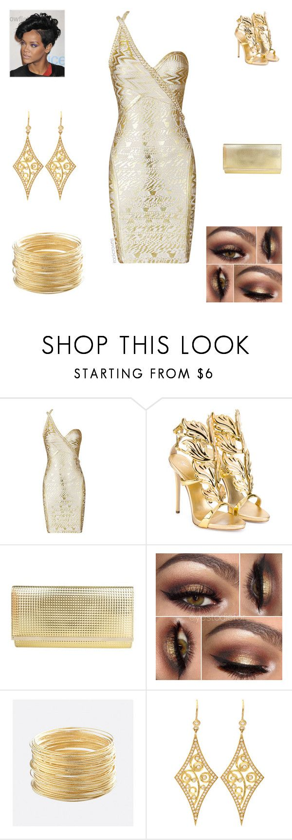 """""""All Gold Everything"""" by irockcrowns ❤ liked on Polyvore featuring Giuseppe Zanotti, Jimmy Choo, Avenue and Annie Fensterstock"""