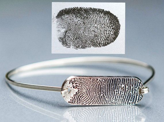 Fingerprint Tension Sterling Silver Bracelet - Memorial fingerprint jewelry - Get 10% off your purchase with Coupon Code PINIT
