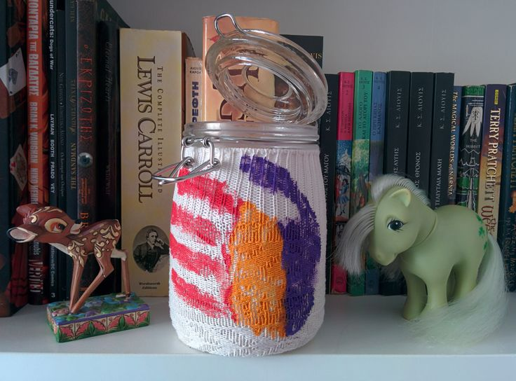 wool sock dressed jar painted with acrylic paint