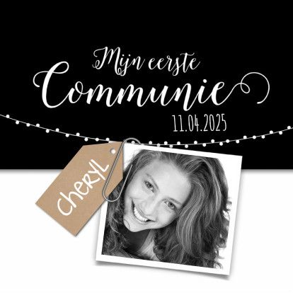 Trendy uitnodiging voor je communie! Leuke kaart met eigen foto en de teksten kun je natuurlijk aanpassen. Veel succes het het maken.