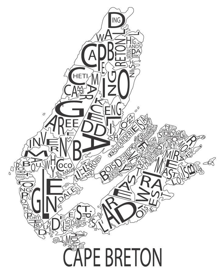 Typographic Map of Cape Breton Nova Scotia (15.00 USD) by AllOverTheMapStudios