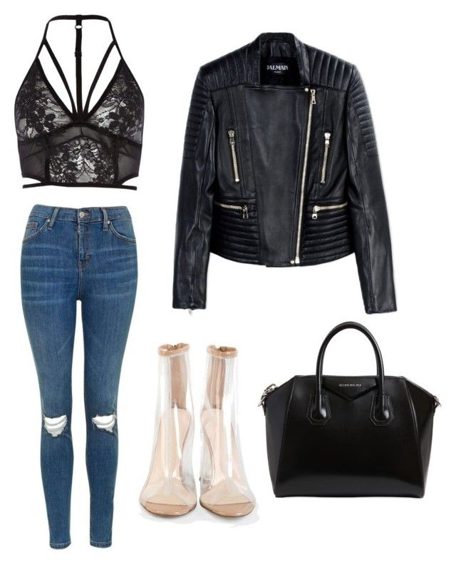 """""""Untitled #9"""" by maria-raniela on Polyvore featuring Topshop, River Island, Balmain and Givenchy"""