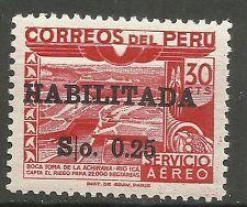 Peru Estampillas 1951 correo aéreo Dam Ica Río recargo 25 Centavos De 30c Usado Ver Imagen