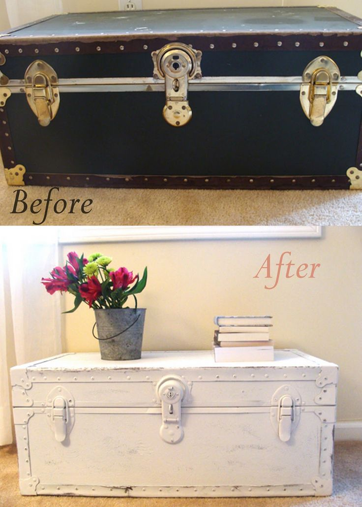 DIY Leather Trunk Makeover, using white spray paint and distressing.