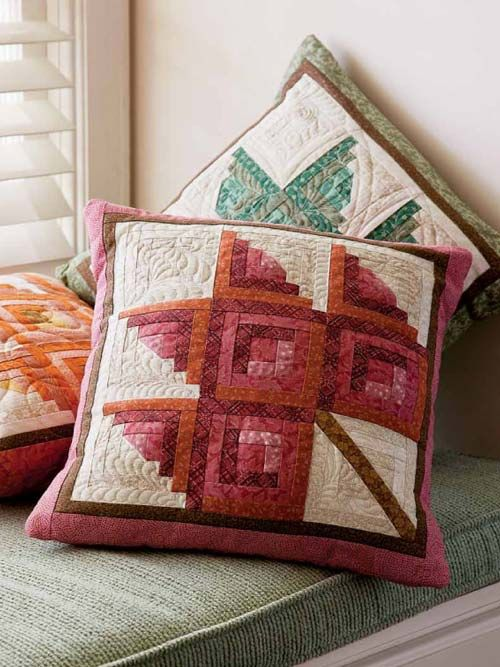 These Log Cabin Leaves pillows work up great as a scrap quilt pattern. Simply made with just two foundation-pieced blocks, this pillow goes together quickly. It's perfect to make for a gift, or for yourself!