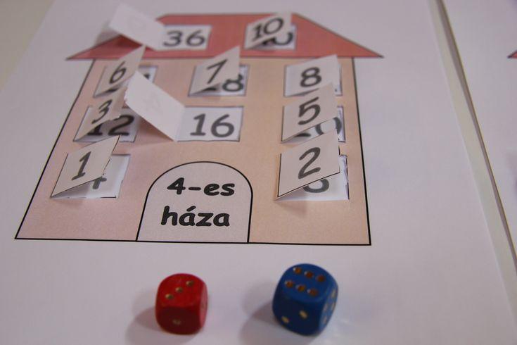 szorzótábla-házak, nyomtatható társasjáték