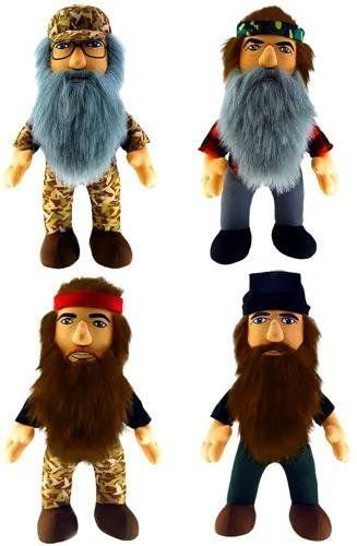 "Duck Dynasty 13"" Talking Doll Plush - SET OF 4. Complete set of 4 13"" figures. Includes: Si, Willie, Phil and Chase. Each Figure has their own phrases when the chest is pushed. Each plush comes in its own retail package. Redneck Approved!."
