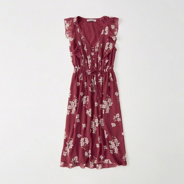 Abercrombie & Fitch Ruffle Midi Dress ($68) ❤ liked on Polyvore featuring dresses, red floral, red summer dress, floral dresses, chiffon midi dress, petite dresses and midi dress