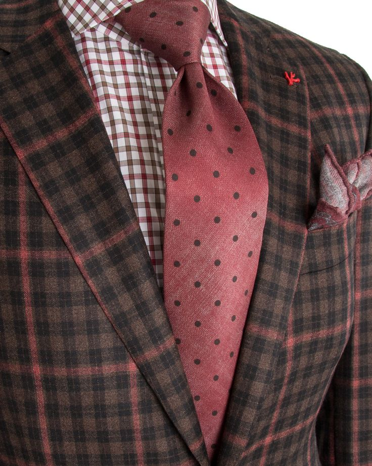 Isaia | Chocolate Plaid with Red Windowpane Sportcoat | Apparel | Men's